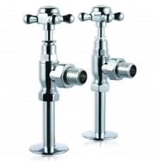 Клапаны Burlington R6 CHR угловые для полотенцесушителя (пара) Хром