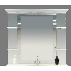 Misty Мелиса - 130 Зеркало  с полочками белое глянцевое