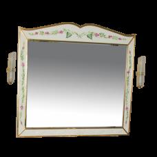 Анжелика - 100 Зеркало бежевое с узором  со светильниками
